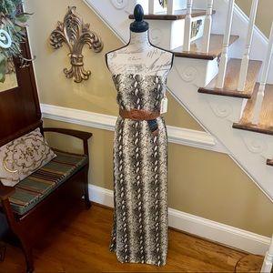 Strapless Stella tweed python maxi dress with belt